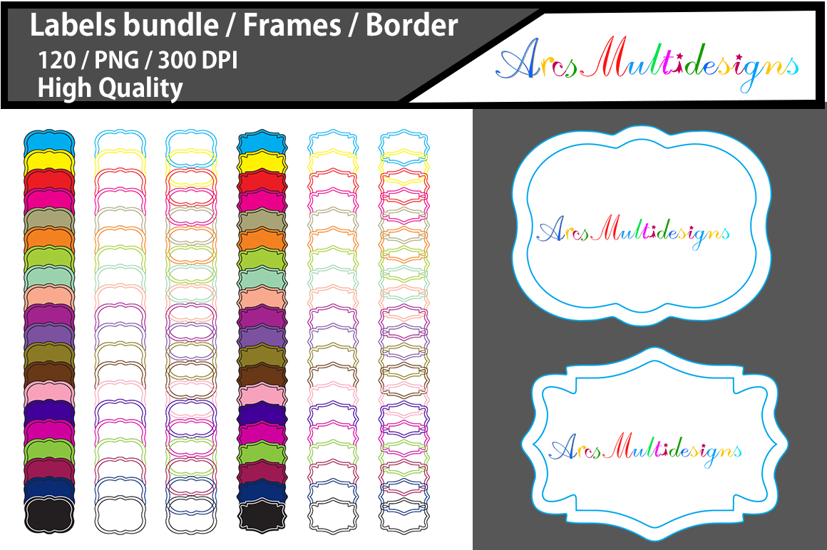 Print on Demand: Label Frames Clip Art Design Graphic Crafts By Arcs Multidesigns - Image 1