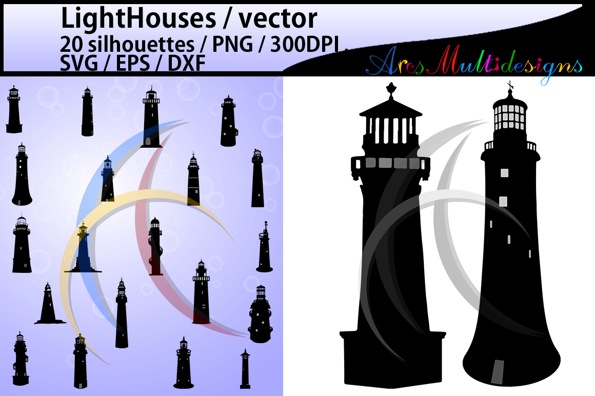 Print on Demand: LightHouses Silhouette Graphic Crafts By Arcs Multidesigns - Image 1