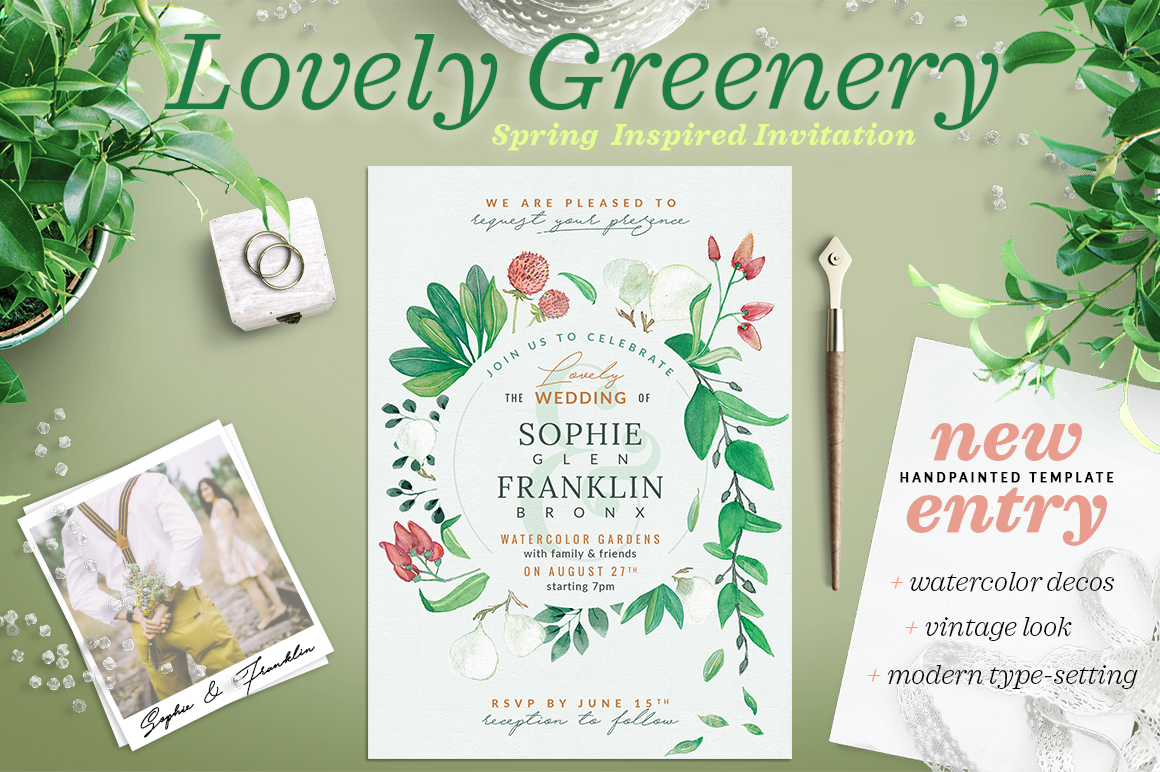 Lovely Greenery Wedding Card I Graphic By lavie1blonde