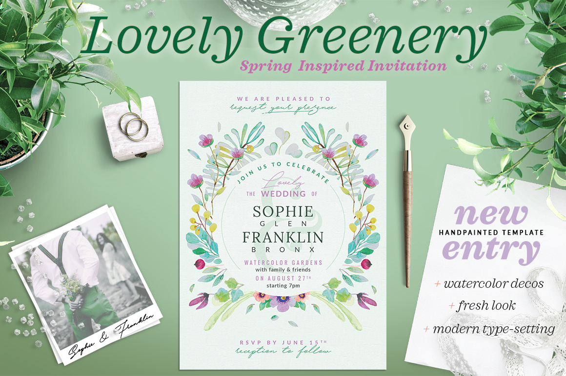 Lovely Greenery Wedding Card II Graphic By lavie1blonde
