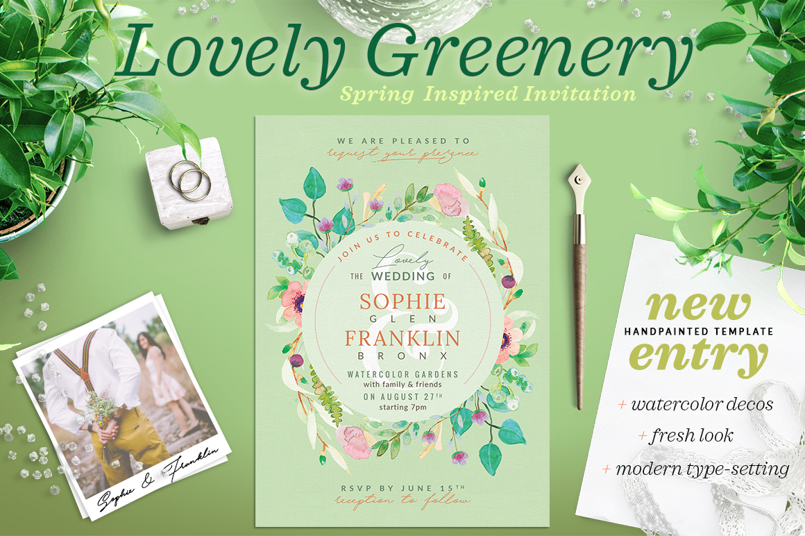 Lovely Greenery Wedding Card III Graphic Print Templates By lavie1blonde
