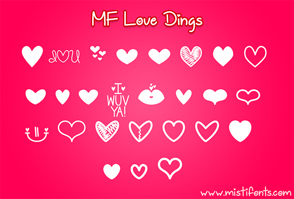 Print on Demand: MF Love Dings Dingbats Font By Misti