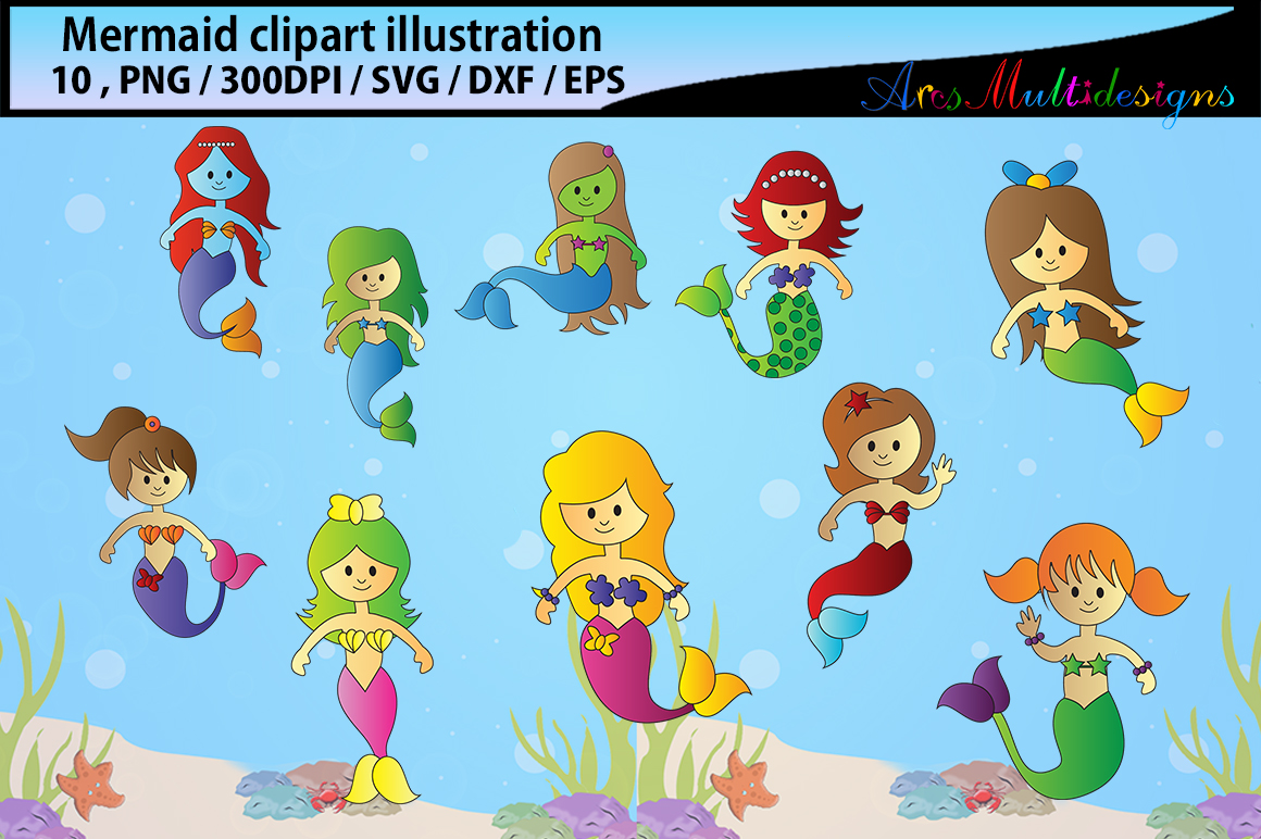 Print on Demand: Mermaid Clip Art Graphic Crafts By Arcs Multidesigns