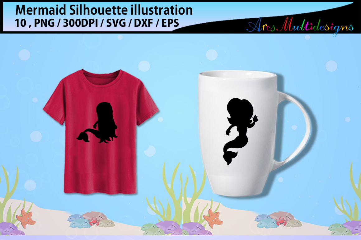Print on Demand: Mermaid Silhouettes Graphic Illustrations By Arcs Multidesigns - Image 3