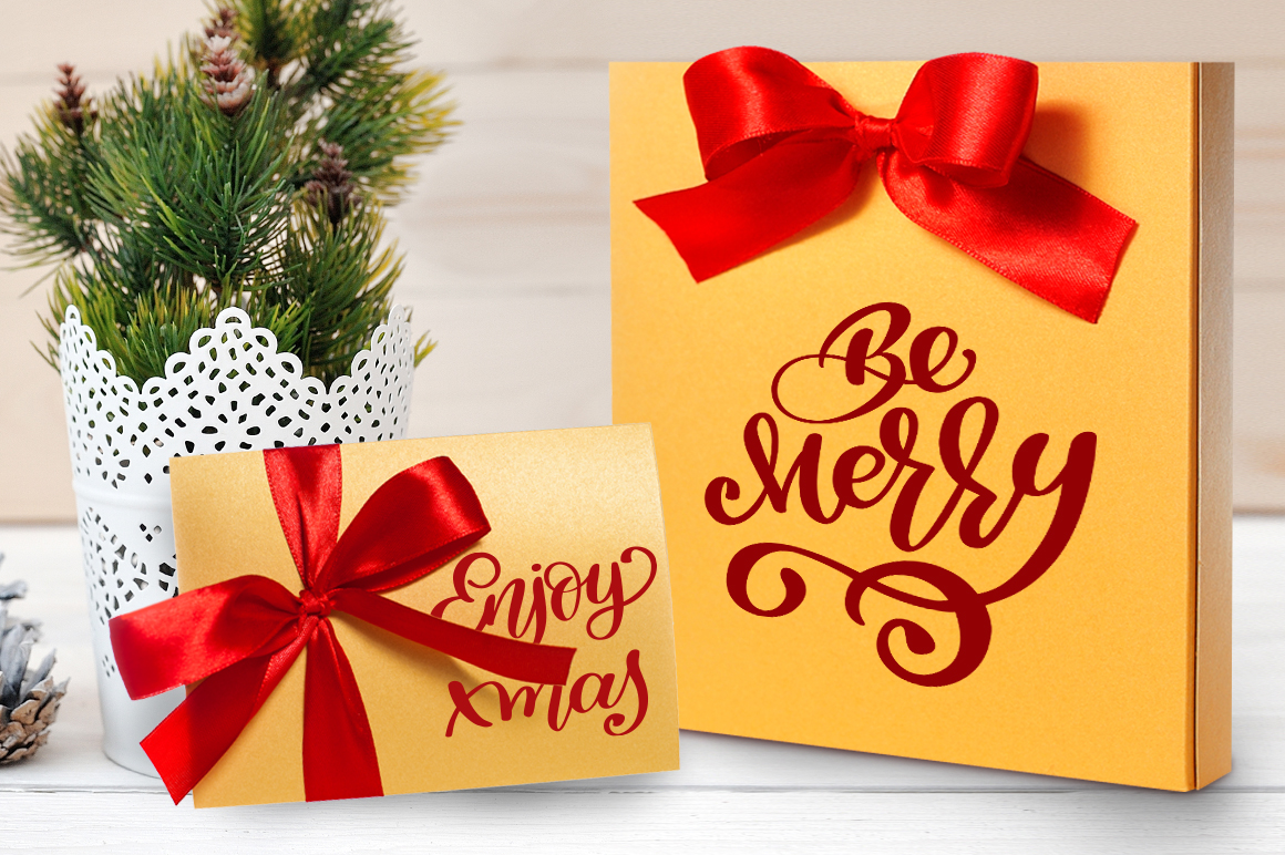 Download Free Merry Christmas Hand Drawn Lettering Objects Graphic By Happy for Cricut Explore, Silhouette and other cutting machines.