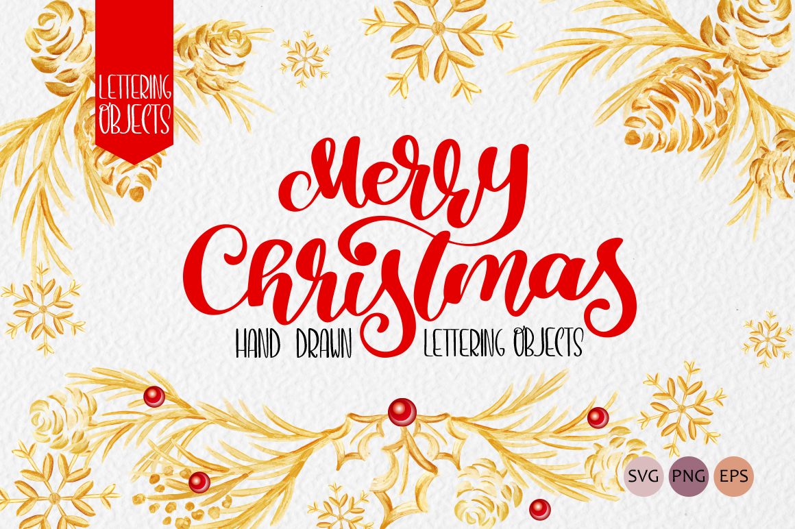 Merry Christmas Hand Drawn Lettering Objects Gráfico Objetos Por Happy Letters