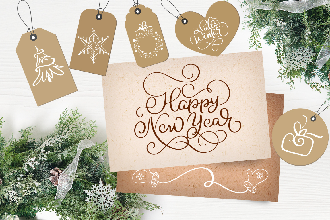 Download Free Merry Christmas Quotes And Objects Calligraphy Collection Graphic for Cricut Explore, Silhouette and other cutting machines.
