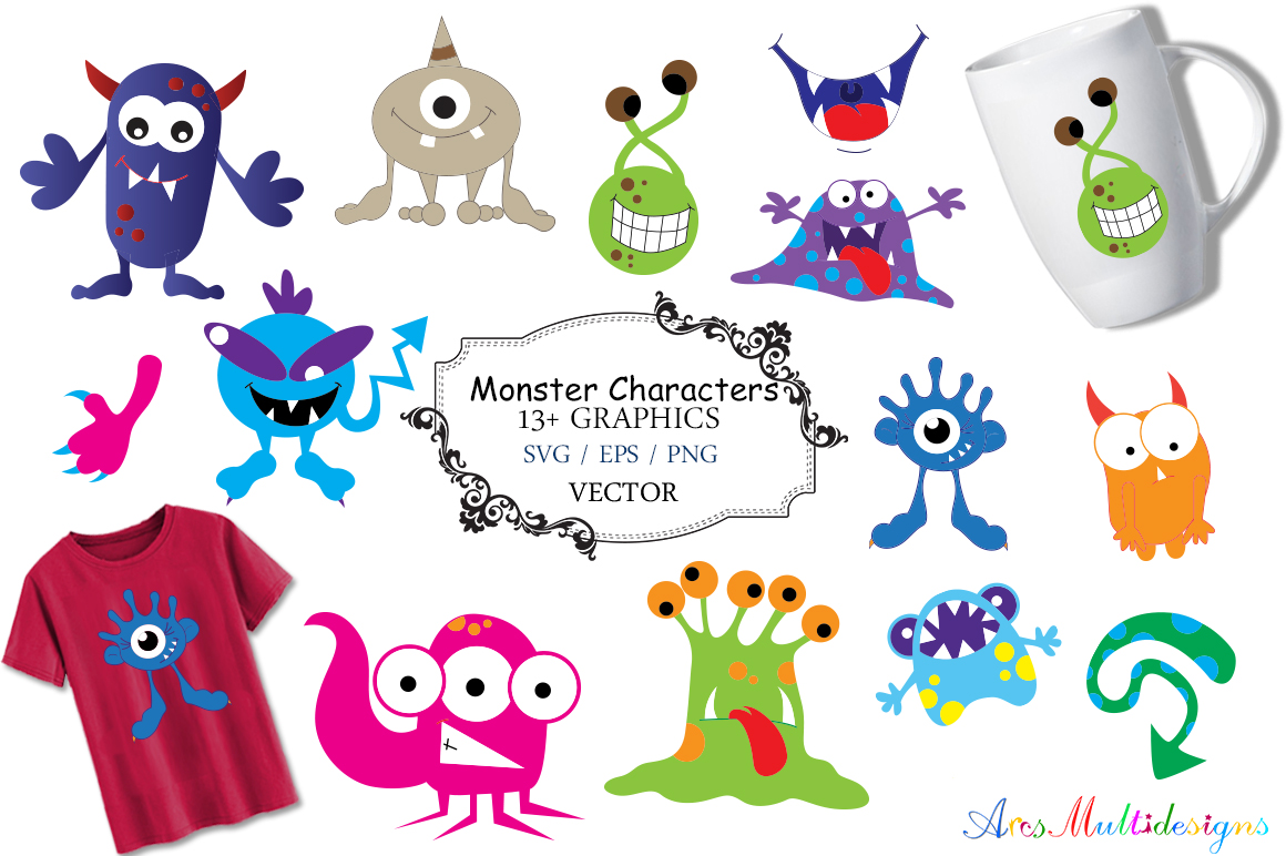 Print on Demand: Monster Characters Set Graphic Illustrations By Arcs Multidesigns - Image 1