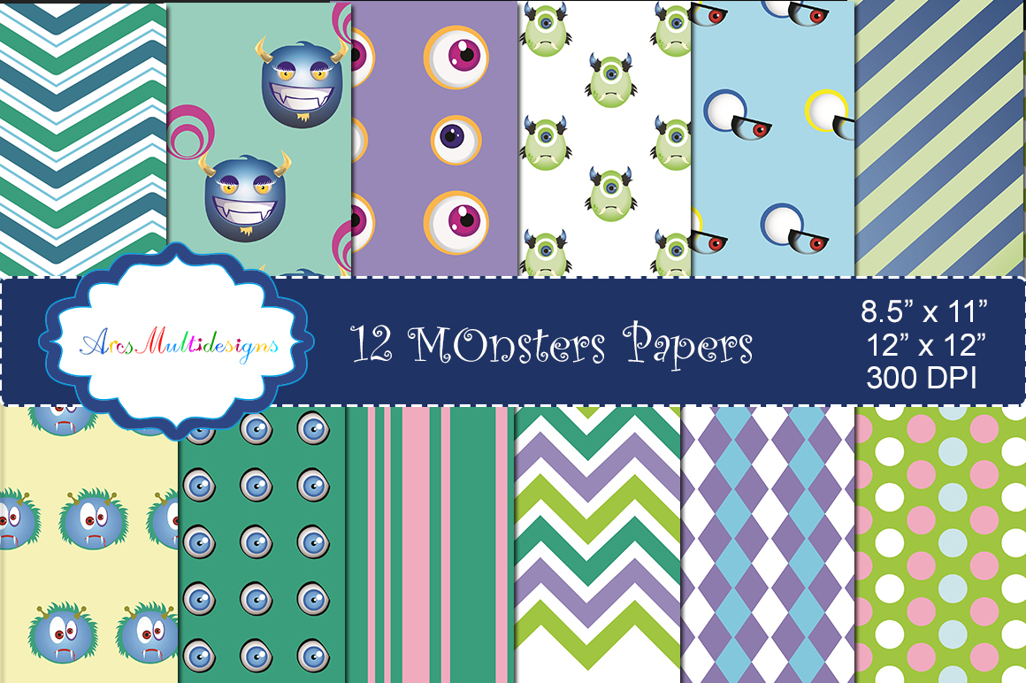 Monster Digital Paper Graphic By Arcs Multidesigns