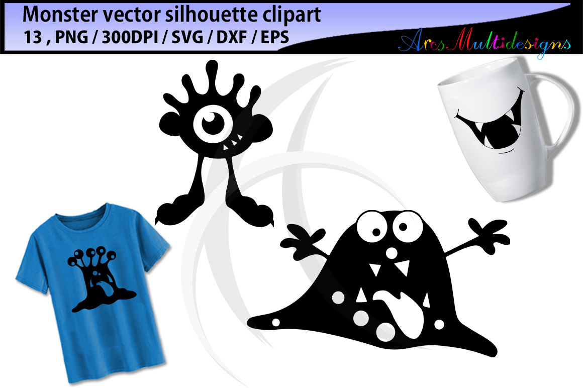 Print on Demand: Monsters Silhouettes Graphic Illustrations By Arcs Multidesigns - Image 2
