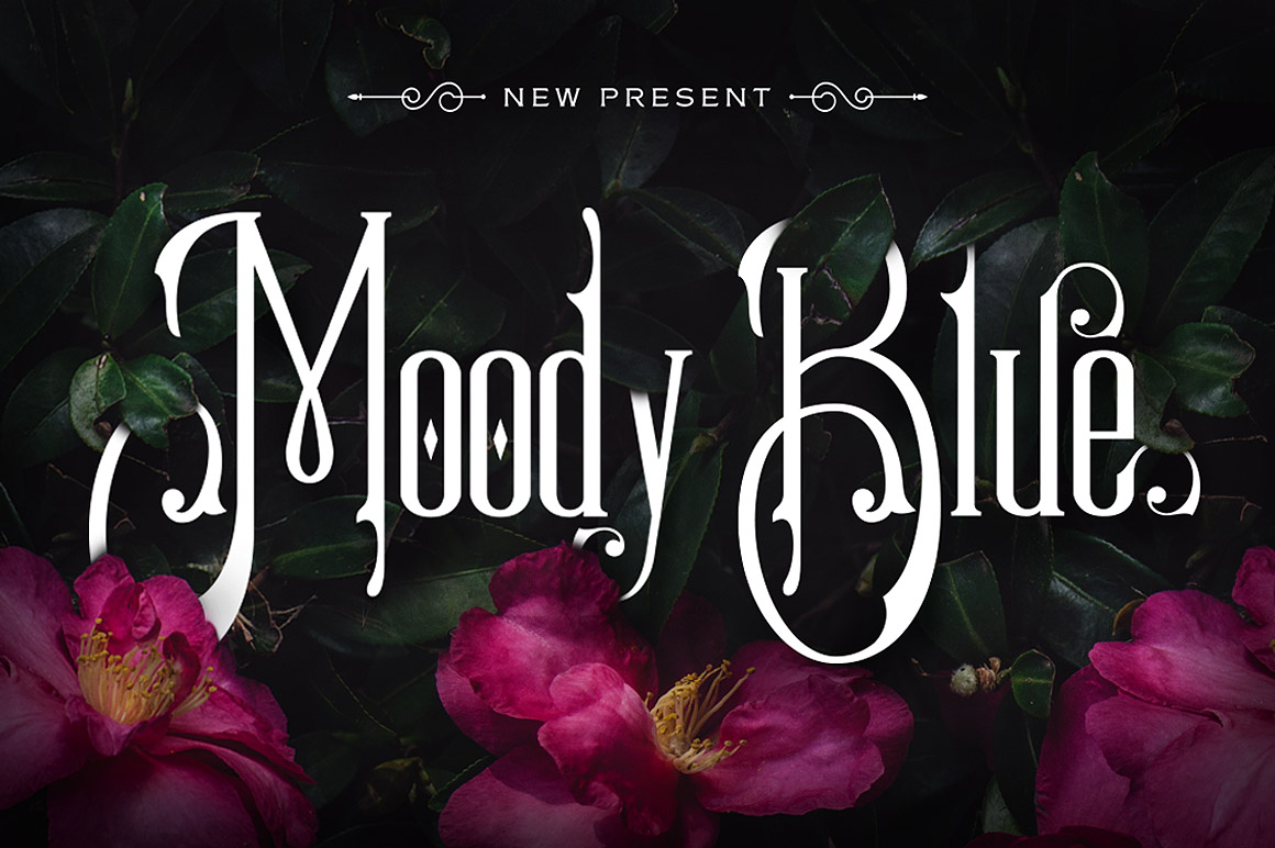 Print on Demand: Moody Blue Decorative Font By storictype