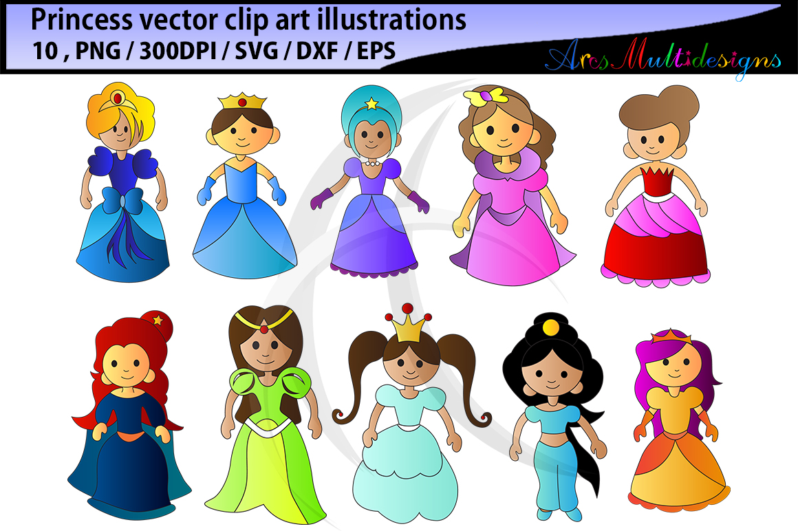 Print on Demand: Princess Clipart Silhouette Graphic Illustrations By Arcs Multidesigns - Image 2
