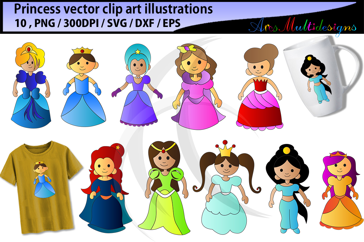 Princess Clipart Silhouette Graphic By Arcs Multidesigns