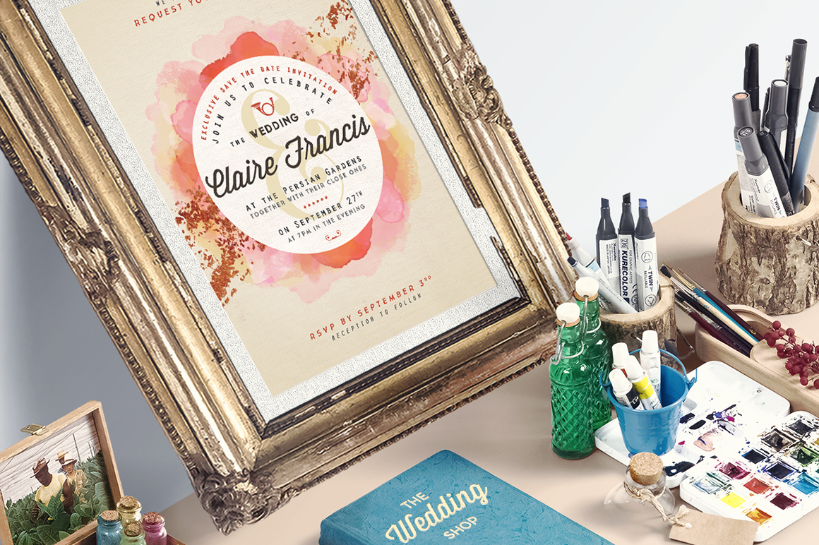 Download Free Pure Copper Watercolor Wedding Invite Graphic By Lavie1blonde for Cricut Explore, Silhouette and other cutting machines.