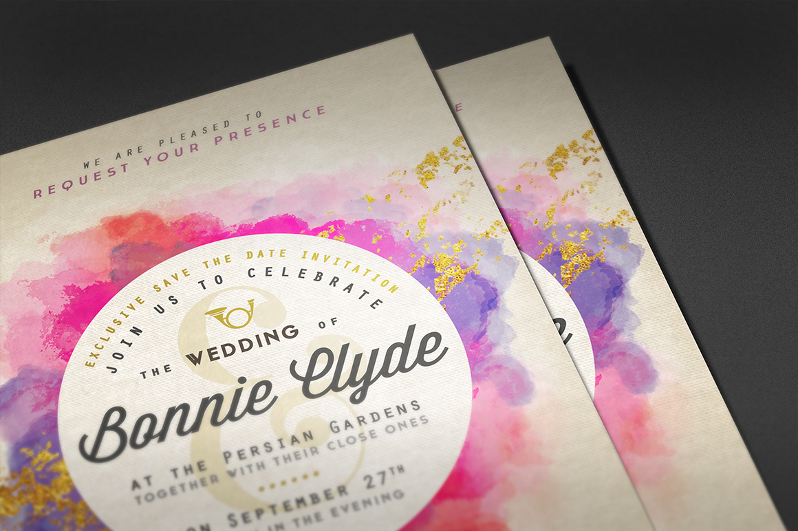 Pure Gold Watercolor Wedding Invite Graphic By lavie1blonde Image 4