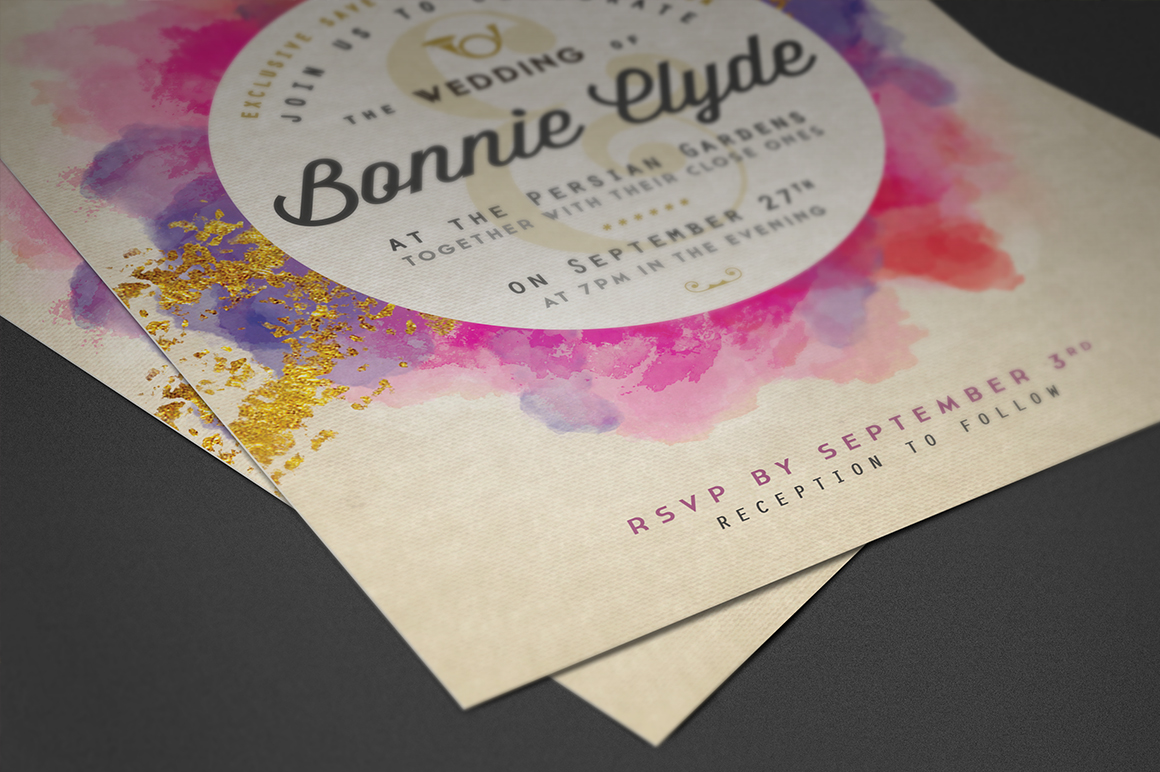 Pure Gold Watercolor Wedding Invite Graphic By lavie1blonde Image 5