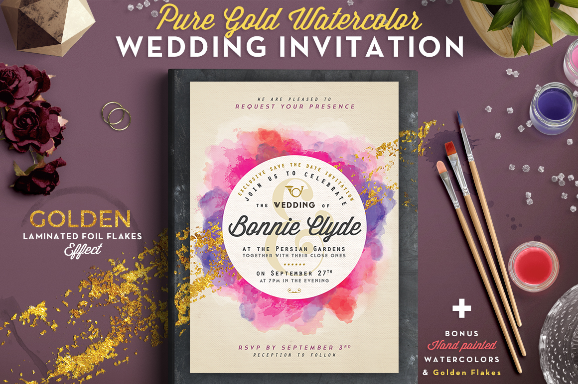 Print on Demand: Pure Gold Watercolor Wedding Invite Graphic Print Templates By lavie1blonde