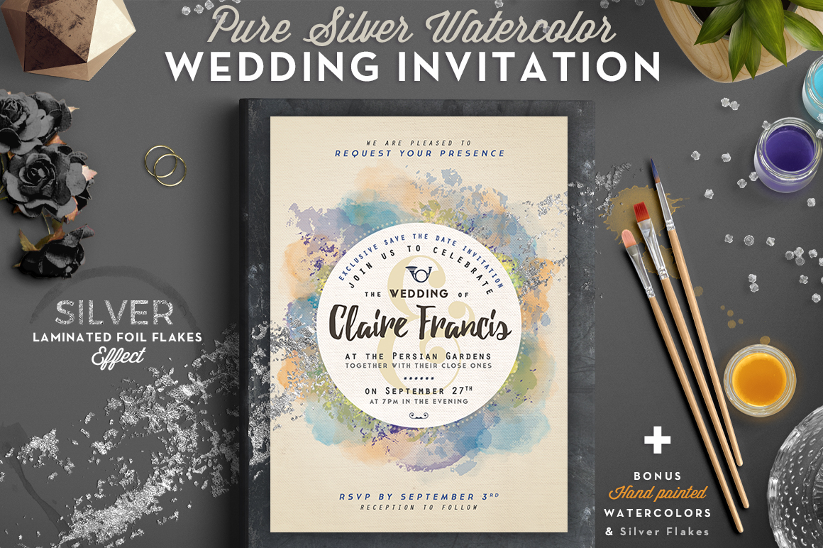 Pure Silver Watercolor Wedding Card Graphic Print Templates By lavie1blonde