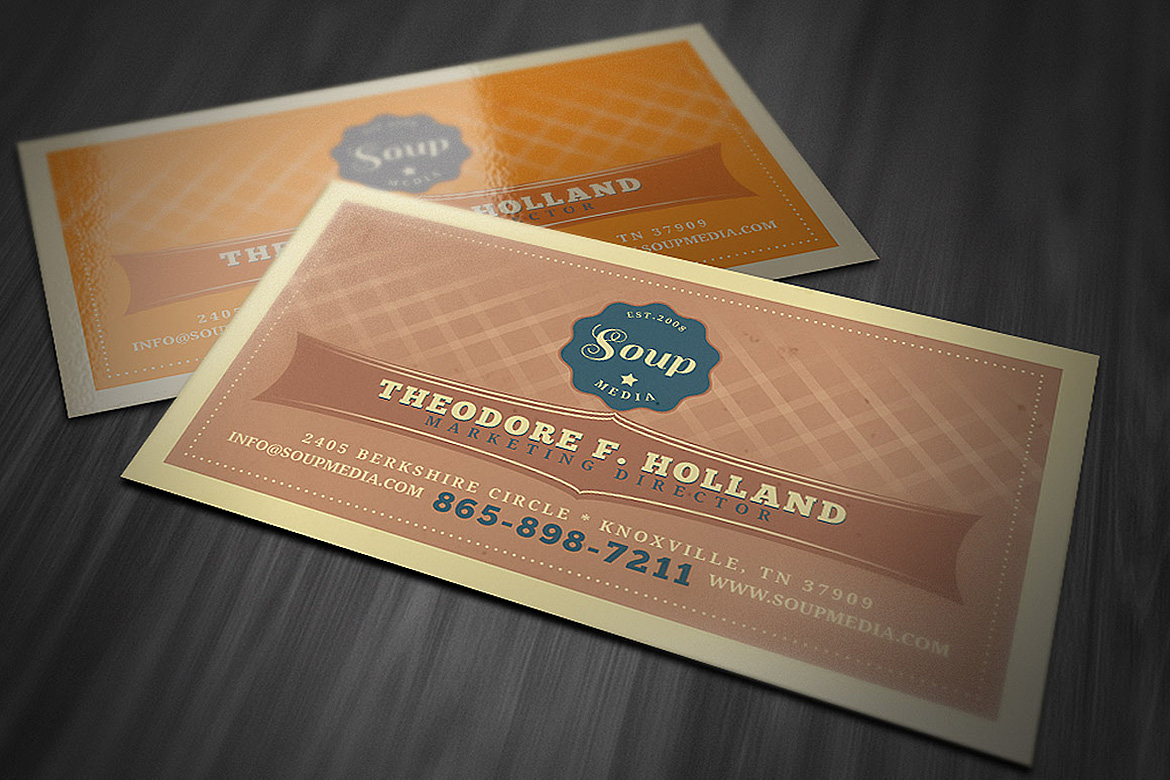 Print on Demand: Retro Business Card Template Graphic Print Templates By JumboDesign