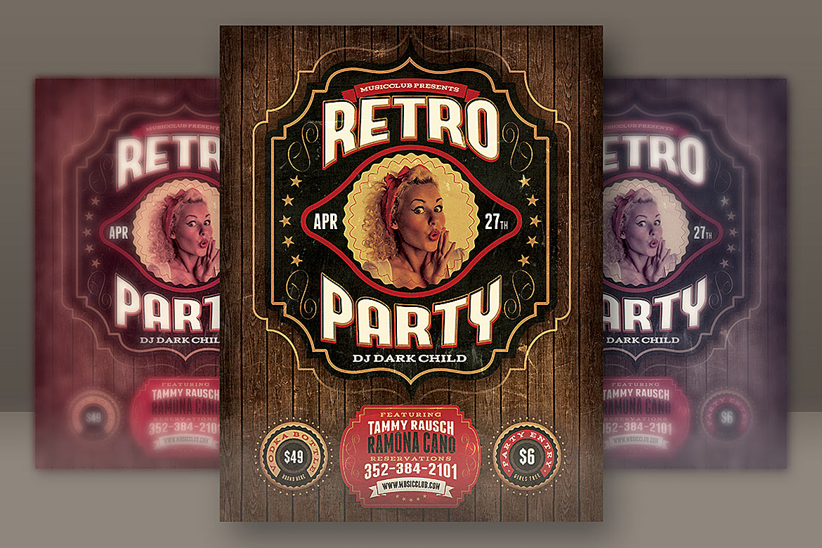Download Free Retro Party Flyer Template Graphic By Jumbodesign Creative Fabrica for Cricut Explore, Silhouette and other cutting machines.