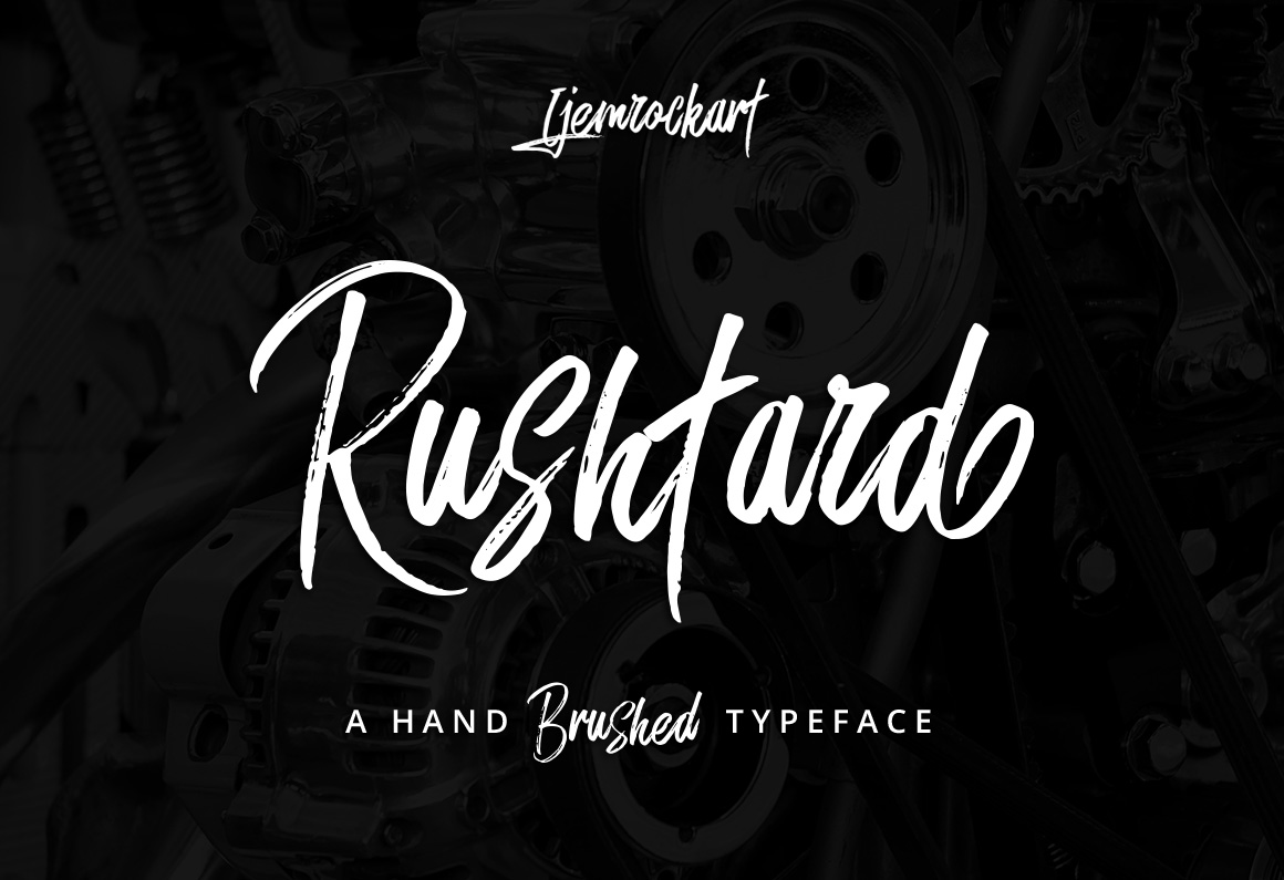 Print on Demand: Rushtard Brush Script & Handwritten Font By Ijem RockArt