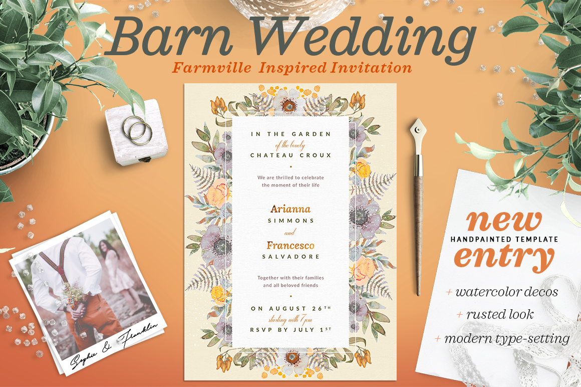 Rustic Wedding at the Barn Card I Graphic Print Templates By lavie1blonde
