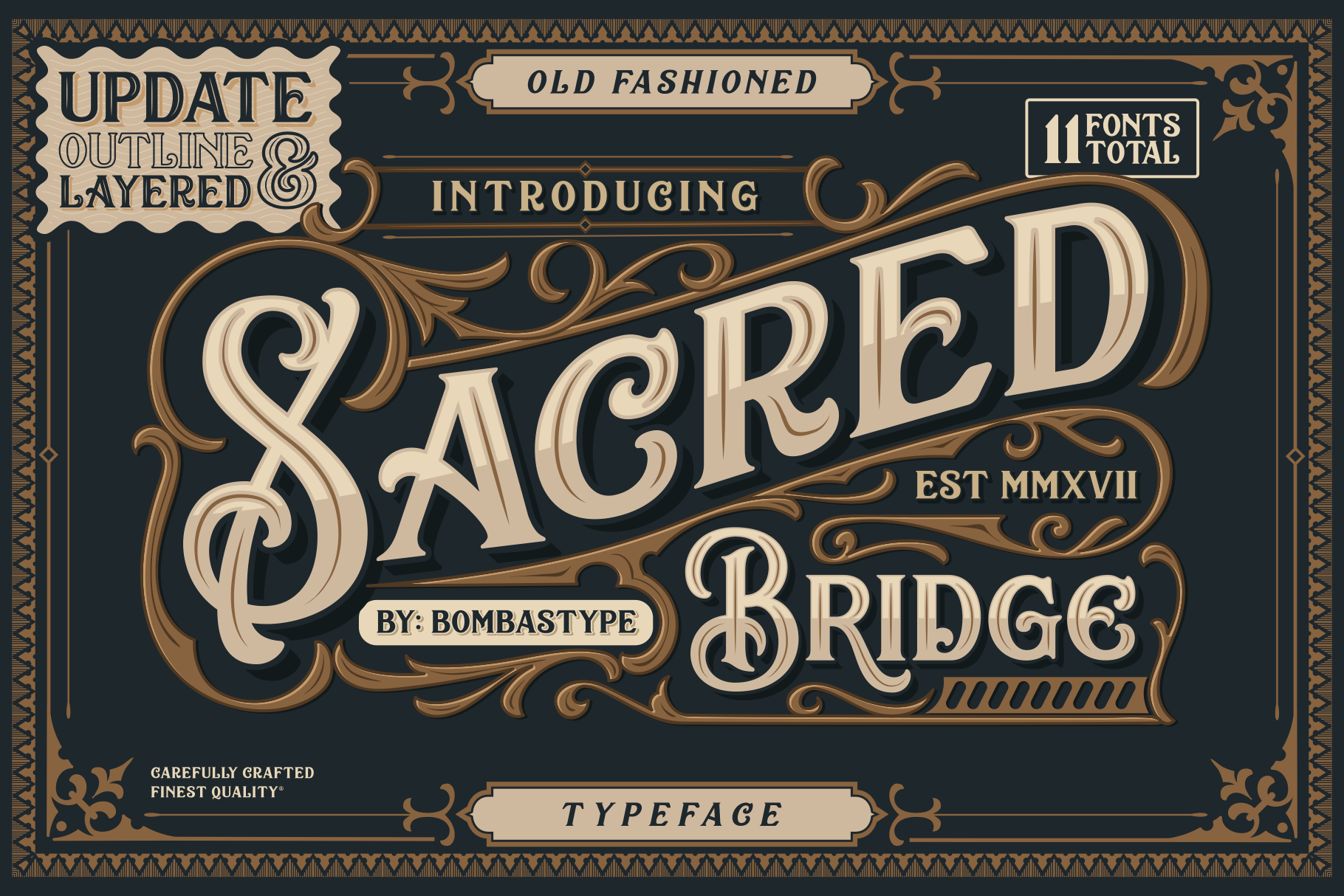 Print on Demand: Sacred Bridge Family Display Font By bombastype