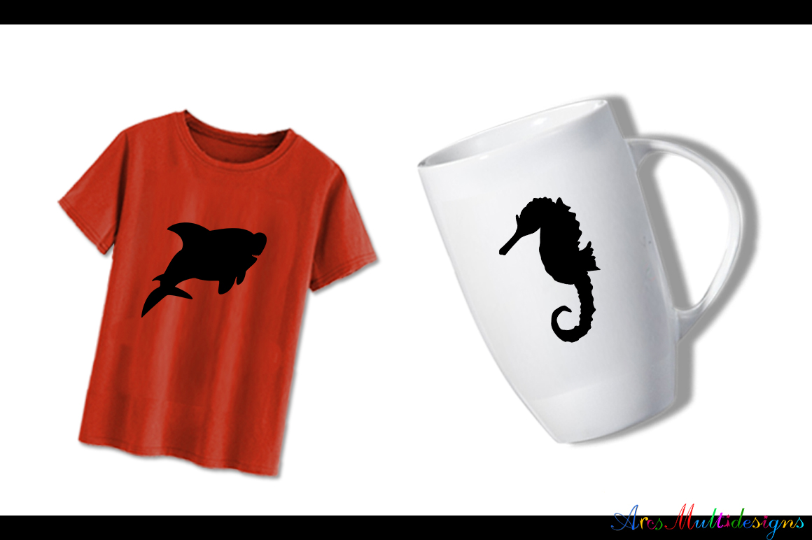 Print on Demand: Sea Animals Silhouette Graphic Crafts By Arcs Multidesigns - Image 4