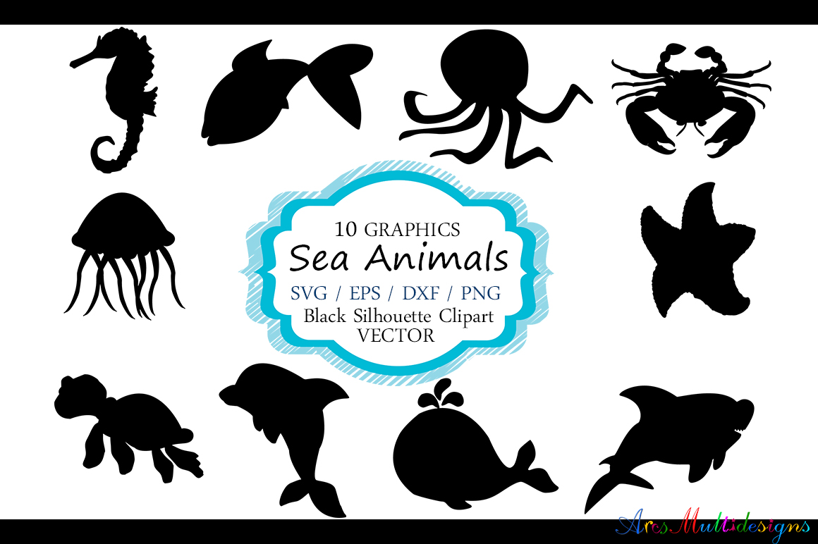 Download Free Sea Animals Silhouette Graphic By Arcs Multidesigns Creative for Cricut Explore, Silhouette and other cutting machines.