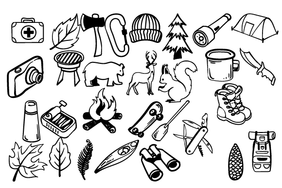 Download Free Set With Handdrawn Outdoors Doodles Svg Cut File By Creative for Cricut Explore, Silhouette and other cutting machines.