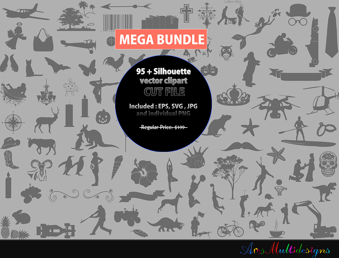 Print on Demand: Silhouette Bundle Set Graphic Crafts By Arcs Multidesigns