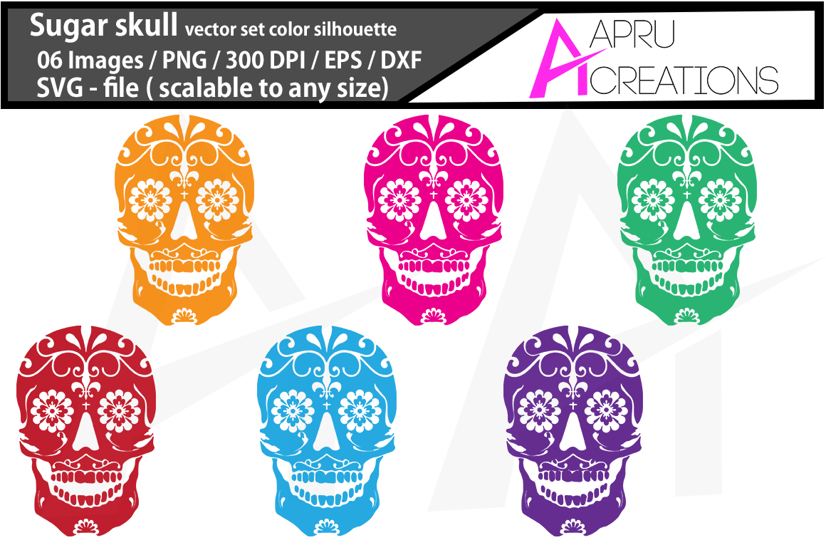 Download Free Sugar Skull Vectors Graphic By Aparnastjp Creative Fabrica for Cricut Explore, Silhouette and other cutting machines.