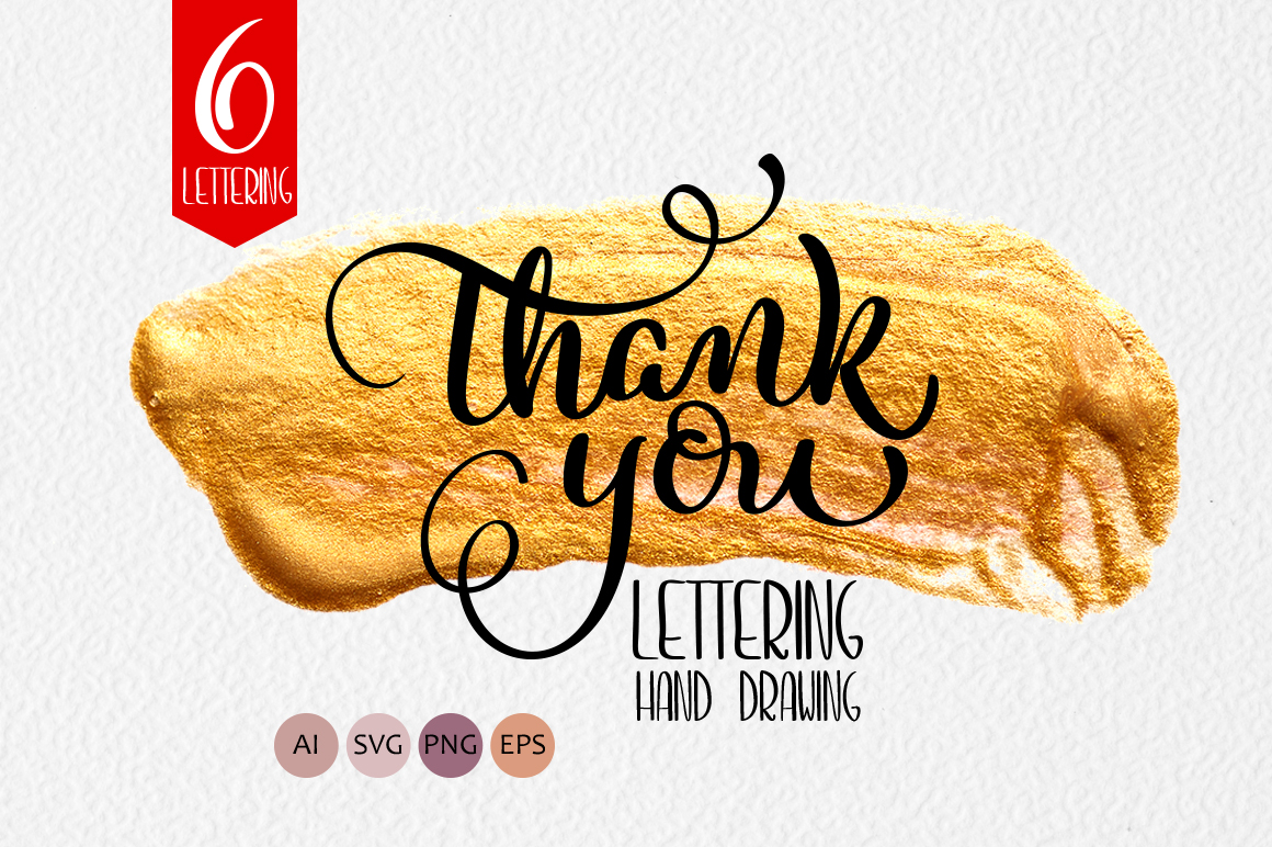 Thank you calligraphy lettering collection graphic by