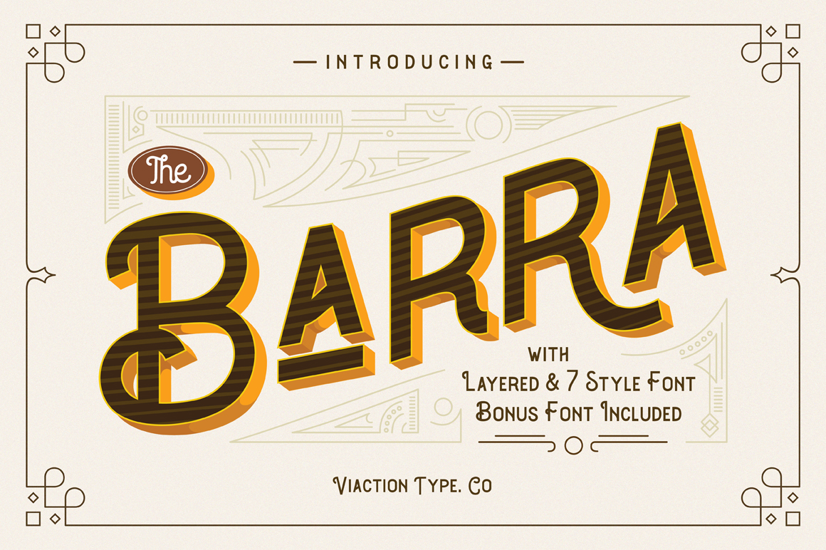 Print on Demand: The Barra Display Font By Viaction Type.Co
