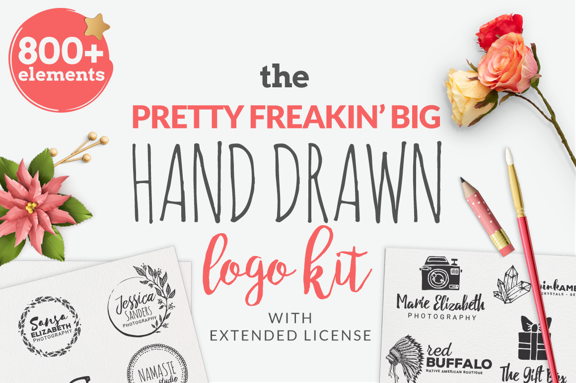 The Pretty Feakin' Big Hand-drawn Logo Kit Graphic Logos By BrandiLeaDesigns