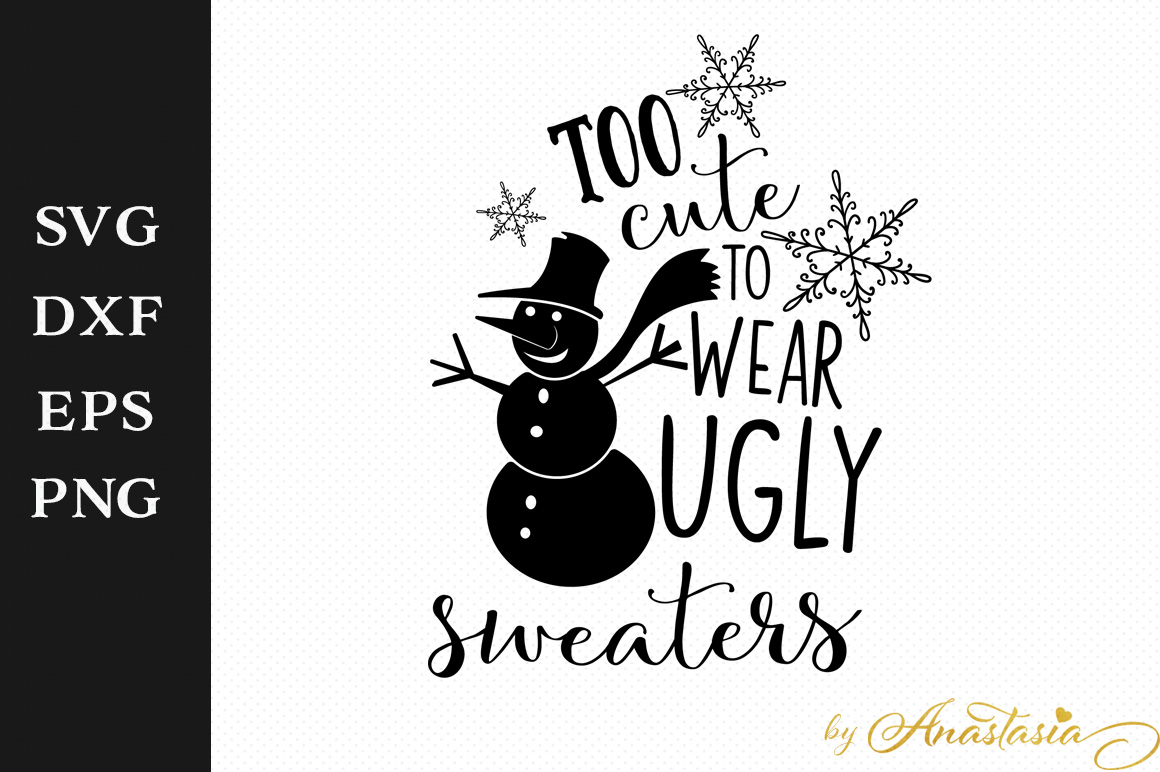 Print on Demand: Too Cute to Wear Ugly Sweaters Graphic Crafts By Anastasia Feya