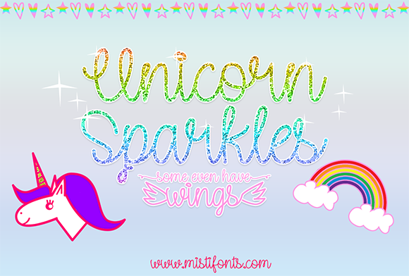Print on Demand: Unicorn Sparkles Script & Handwritten Font By Misti