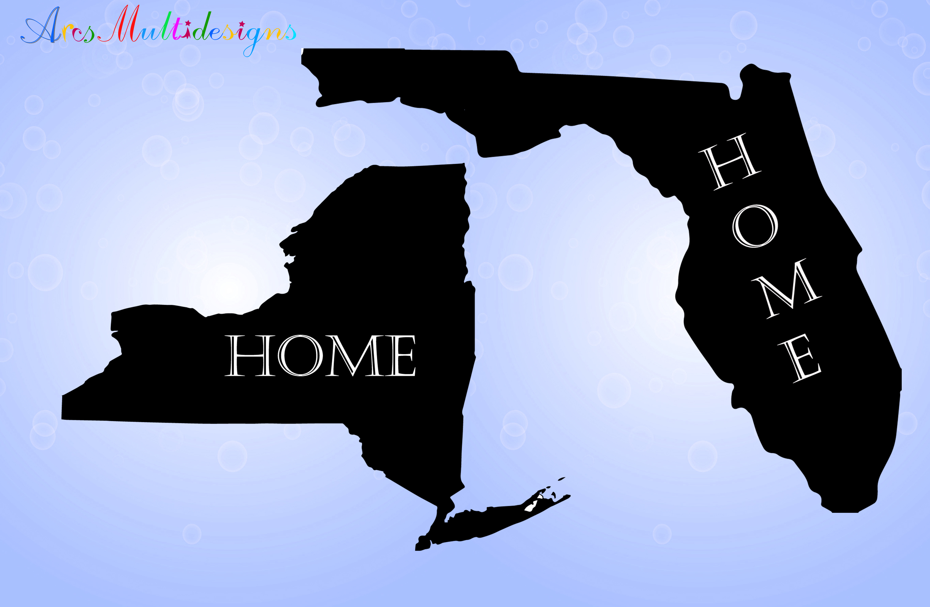 Print on Demand: United States Map with Home Graphic Illustrations By Arcs Multidesigns - Image 2
