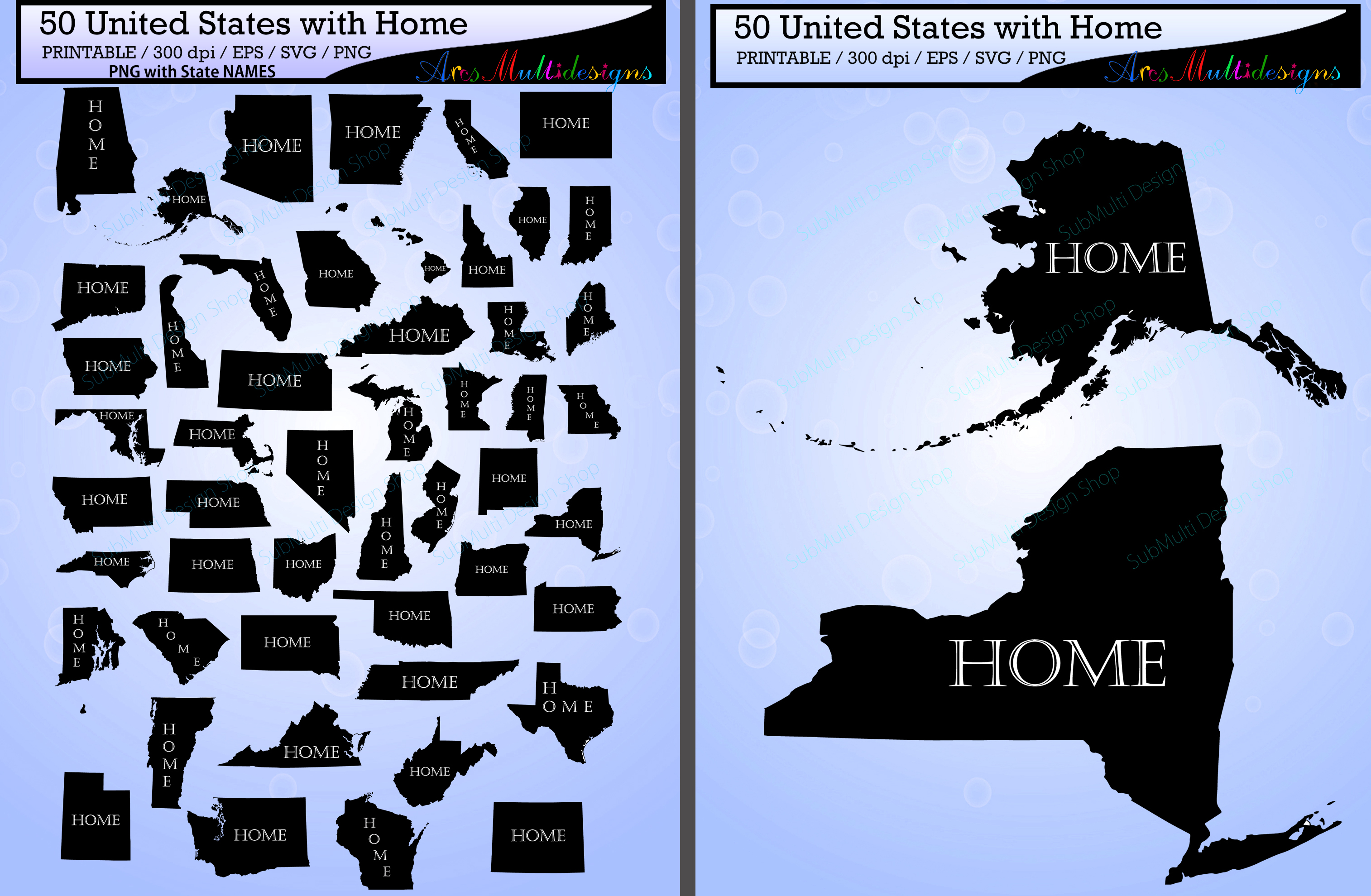 Print on Demand: United States Map with Home Graphic Illustrations By Arcs Multidesigns