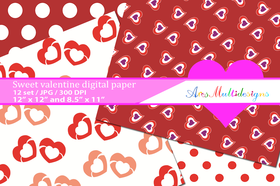 Print on Demand: Valentine's Day Patterns Graphic Patterns By Arcs Multidesigns - Image 2