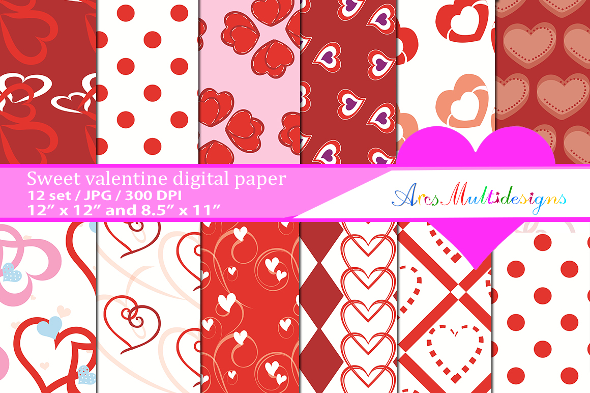 Print on Demand: Valentine's Day Patterns Graphic Patterns By Arcs Multidesigns