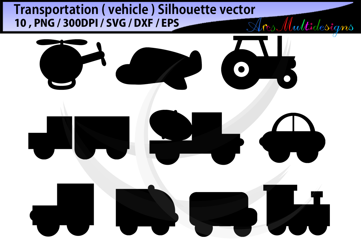 Print on Demand: Vehicle Silhouette Set Graphic Icons By Arcs Multidesigns - Image 1