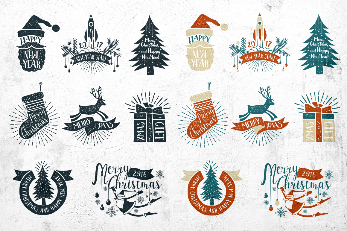 Vintage Christmas Labels Graphic By Agor2012