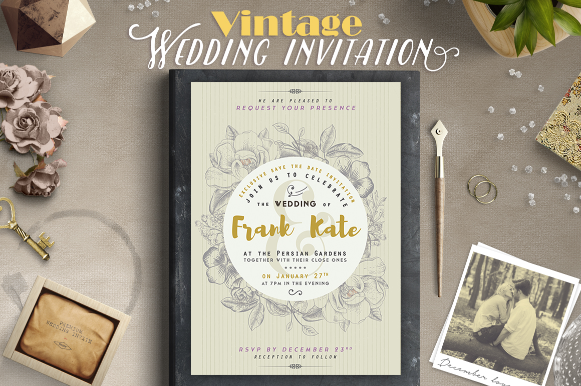 Print on Demand: Vintage Wedding Invitation I Graphic Print Templates By lavie1blonde