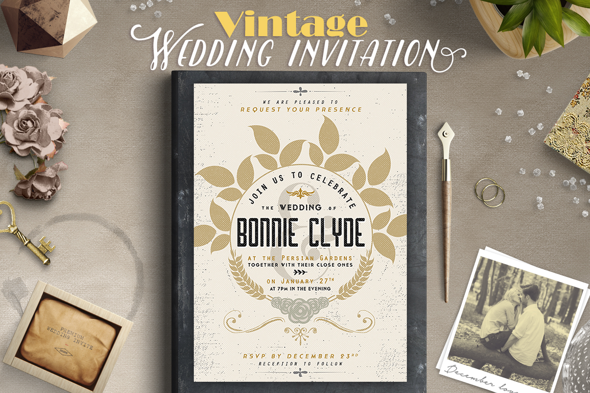 Download Free Vintage Wedding Invitation Iii Graphic By Lavie1blonde for Cricut Explore, Silhouette and other cutting machines.