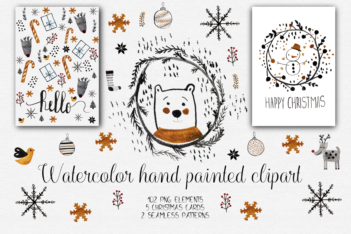 Watercolor Christmas Clipart Graphic Illustrations By natdzho