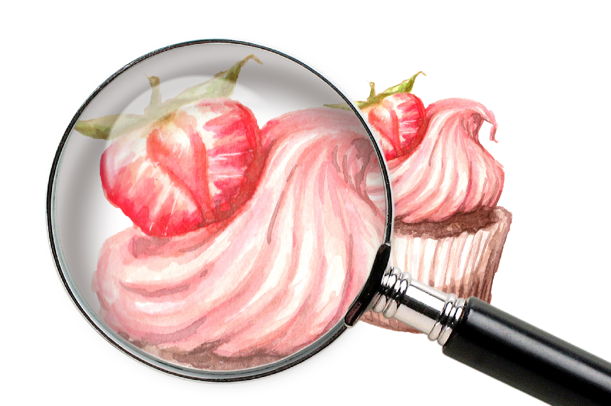 Print on Demand: Watercolor Clip Art – Cupcake Graphic Illustrations By nicjulia - Image 2