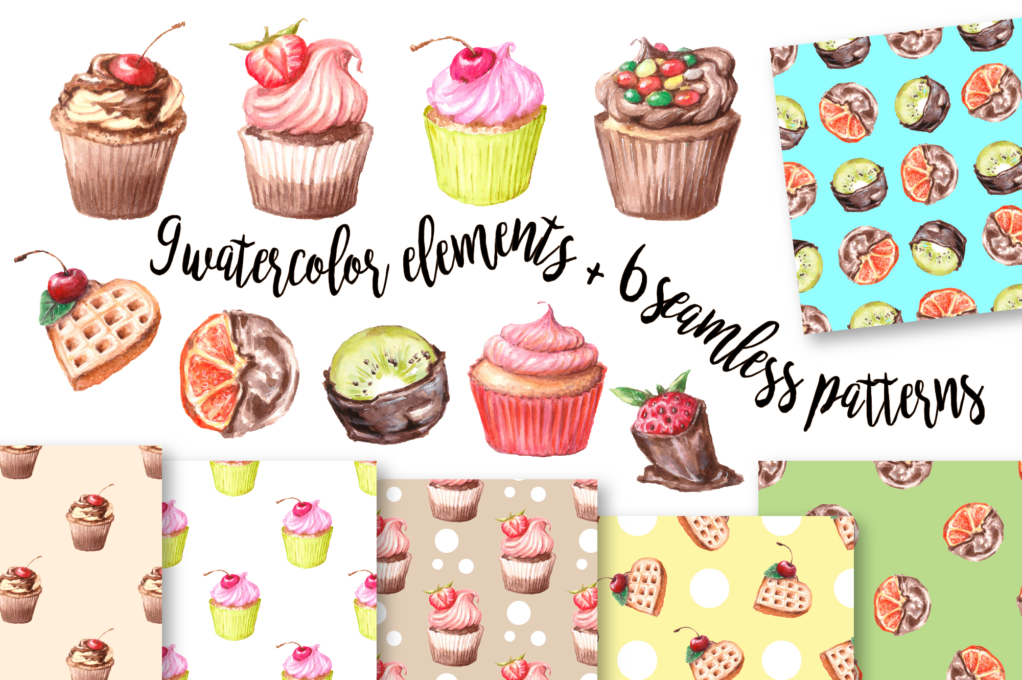 Print on Demand: Watercolor Clip Art – Cupcake Graphic Illustrations By nicjulia - Image 1