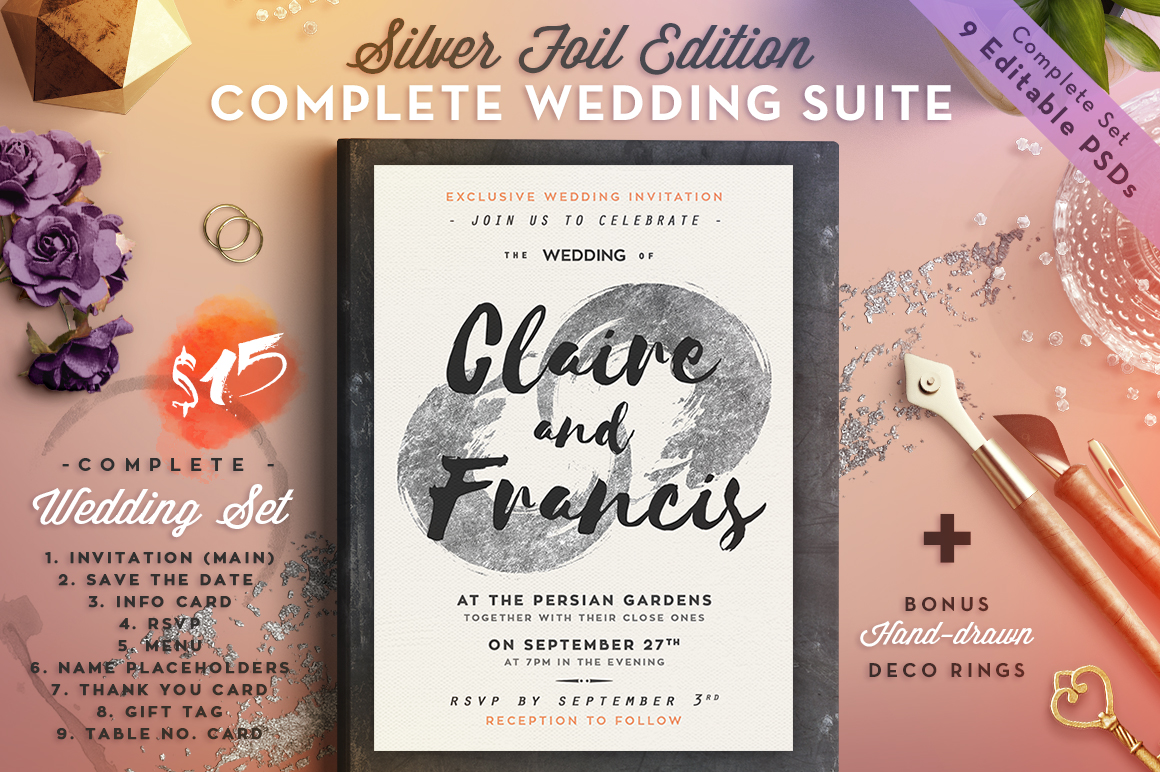 Wedding Suite II Silver Foil Edition Graphic Print Templates By lavie1blonde