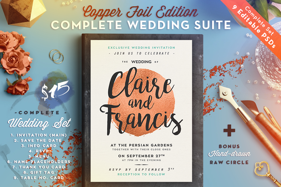 Print on Demand: Wedding Suite III Copper Foil Edition Graphic Print Templates By lavie1blonde